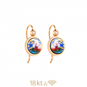 Earrings Cabochon Hanger with Brilliant