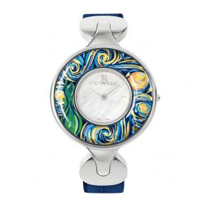 """Часы """"Елена"""" / Ремешок из кожи алигатора - синий"""